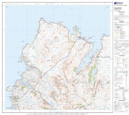 OS Landranger 09 - Cape Wrath, Durness & Scourie - FLAT Rolled in a Tube